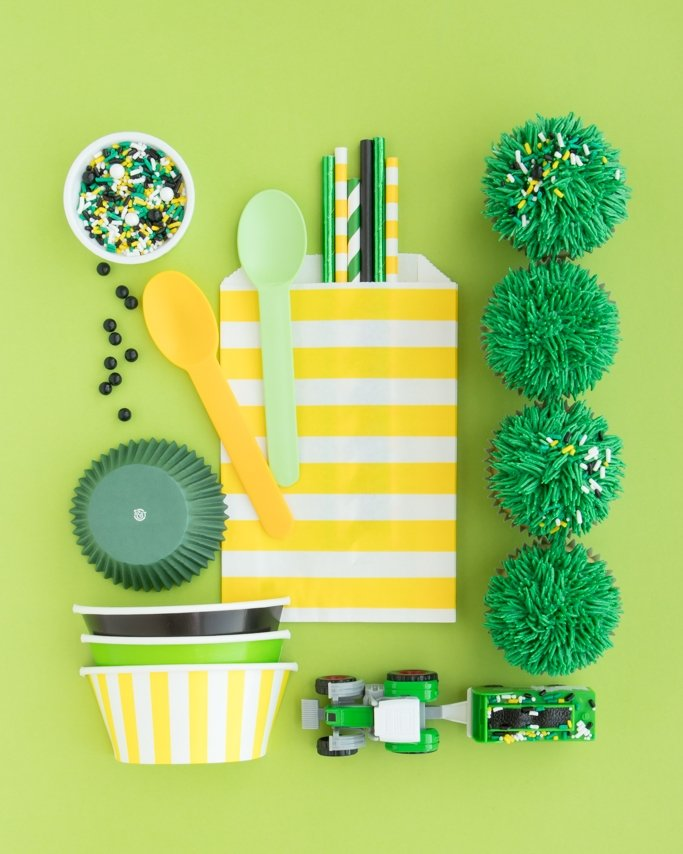 John Deere Party Supplies - Tractor party supplies with grass cupcakes on lime green background