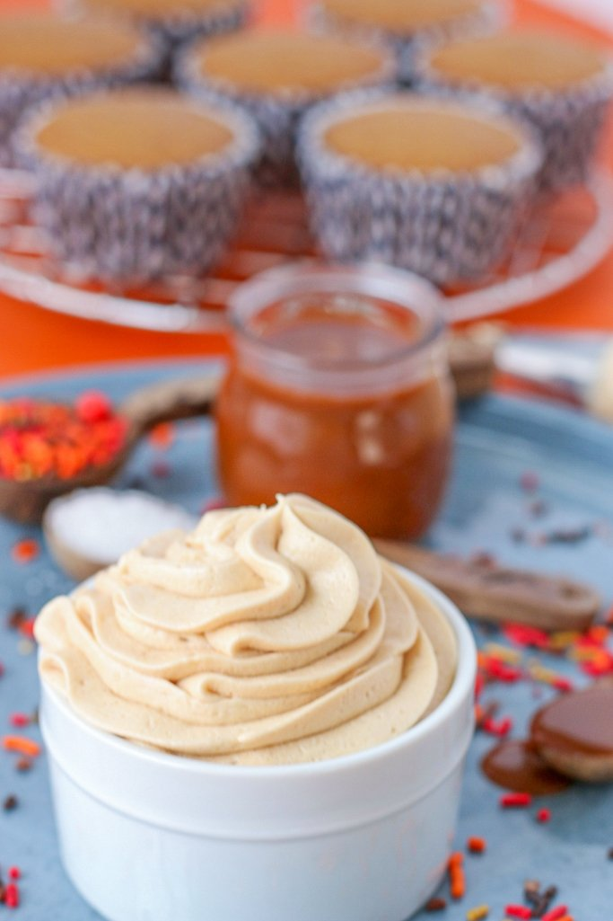closeup of caramel icing in white dish