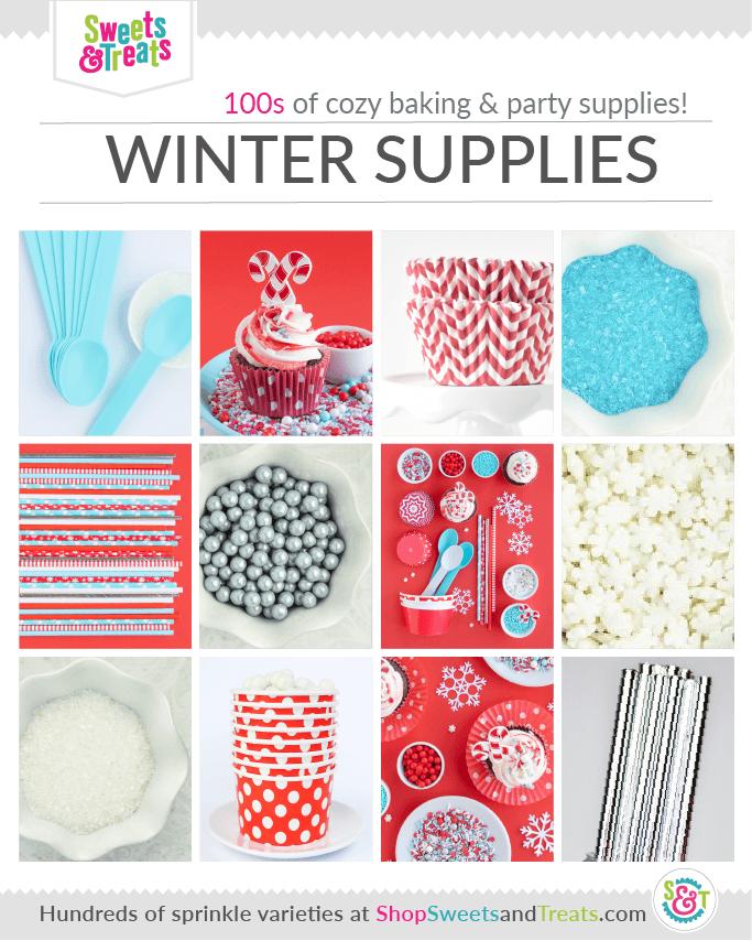 winter wonderland party supplies, winter birthday party supplies collage