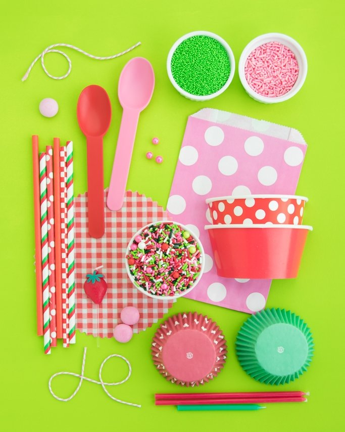 Strawberry Party Supplies + Strawberry Sprinkles.