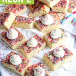 grahpic for sprinkle topped sugar cookie bars recipe