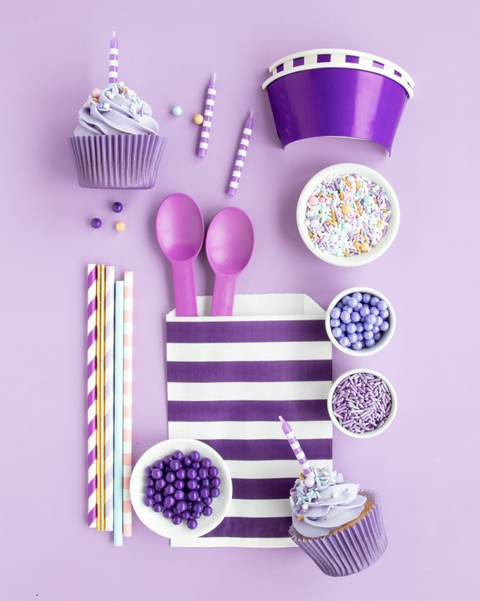 Sugar Plum Party Supplies collage on light purple background
