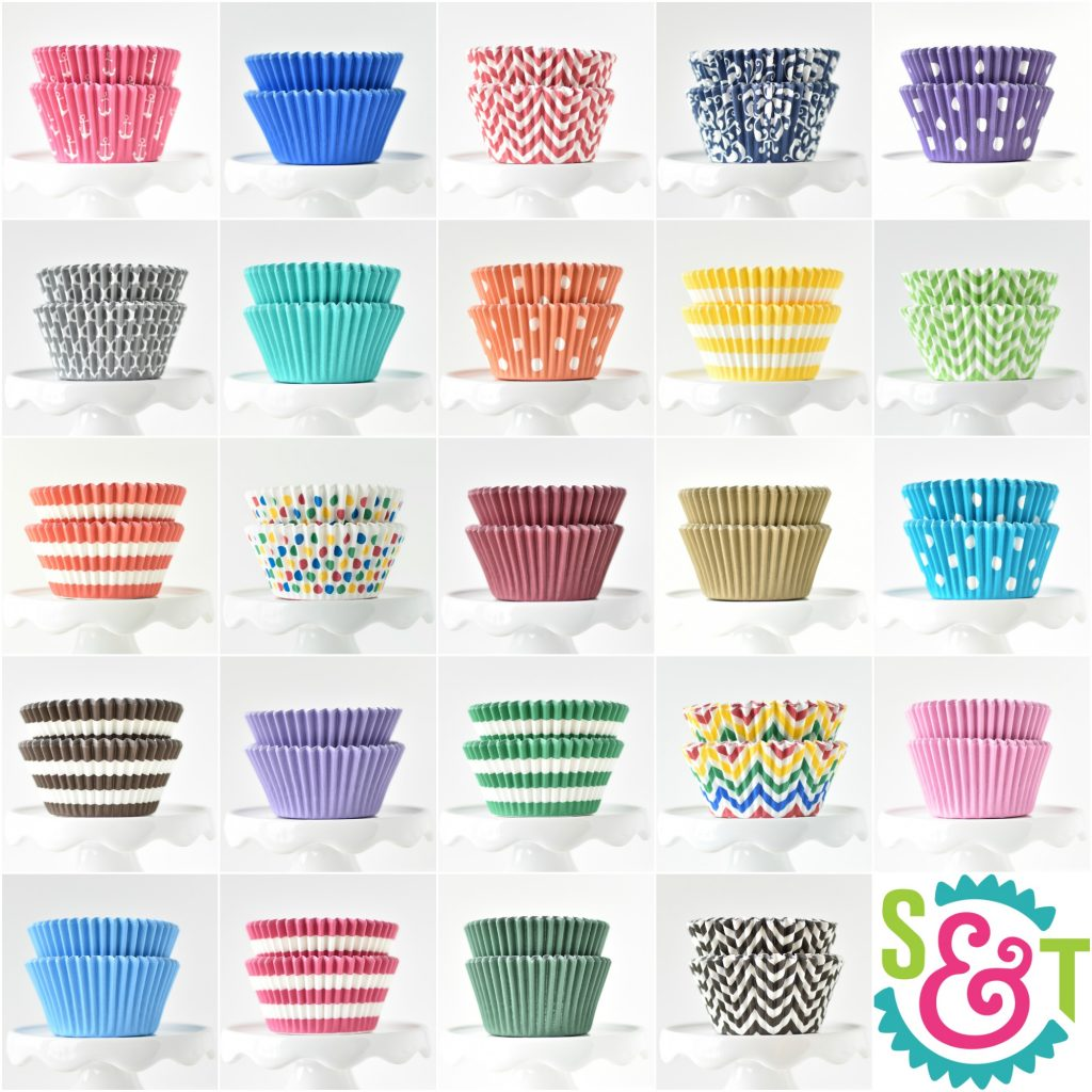 BakeBright best greaseproof cupcake liners collage in colorful baking supplies colors