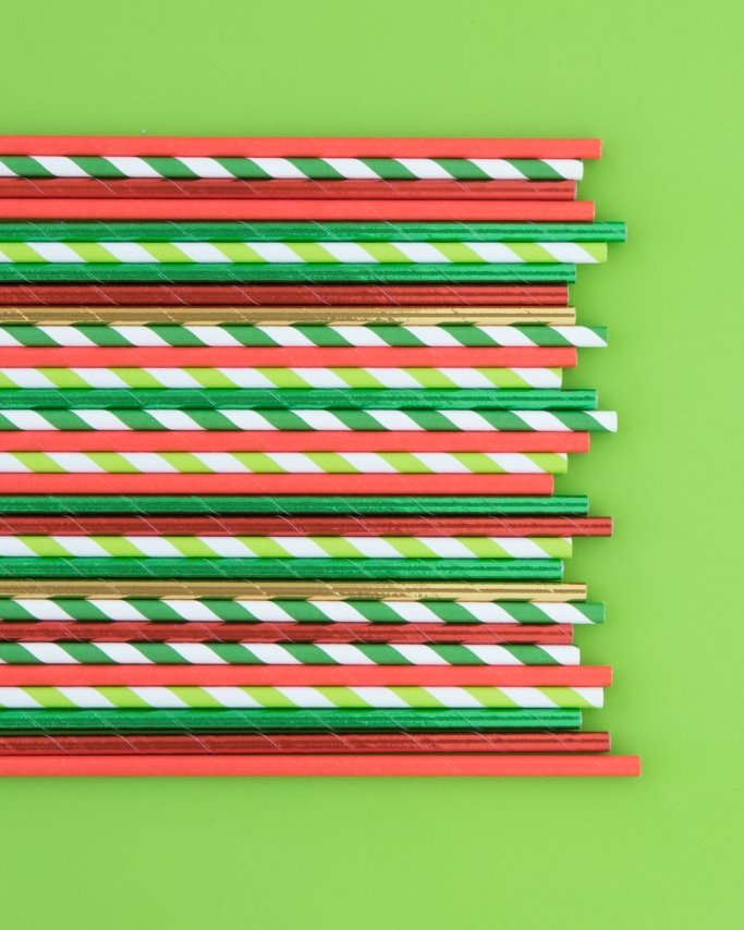 Christmas Paper Straw Mix