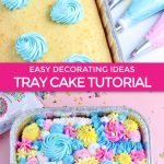 graphic for tray cakes tutorial using sheet cake and multiple piping tip sizes