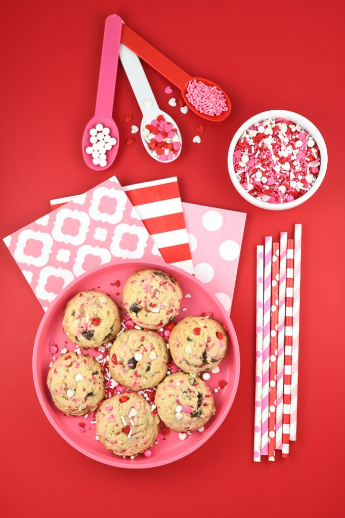 Valentine Party Supplies on red background