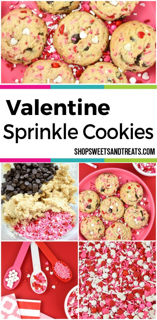 Valentine Chocolate Chip Cookies with sprinkles.