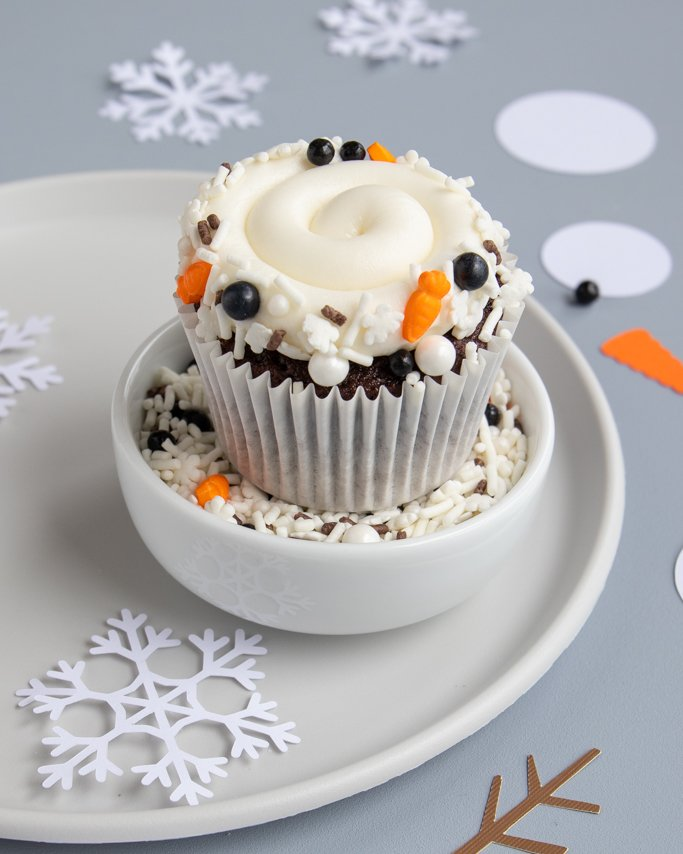 melted snowman cupcakes with sprinkles rim