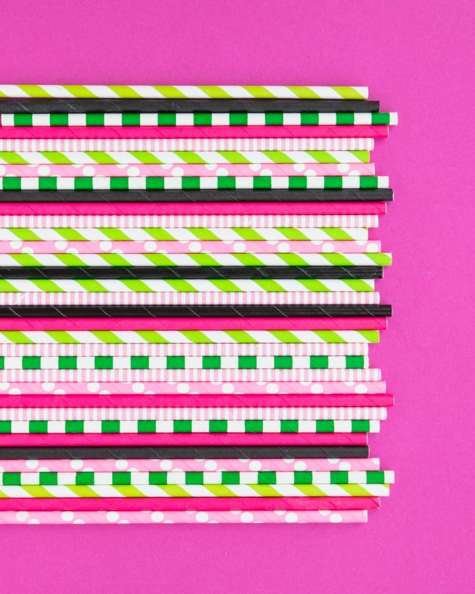 Watermelon Party Paper Straws in assorted pink, green, and black patterns