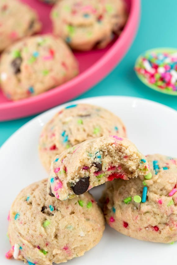 Inside picture of sprinkle cookie with bite taken out.